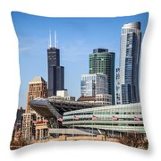 Chicago Skyline With Soldier Field And Sears Tower  Throw Pillow