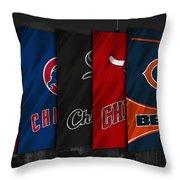 Chicago Sports Teams Throw Pillow