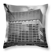 Chicago Sun Times Facade After The Storm Bw Throw Pillow