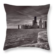 Chicago Sunrise Bw Throw Pillow