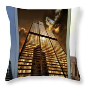 Chicago Tall Shoulders Trump Sears 333 W Wacker Triptych 3 Panel 01 Throw Pillow