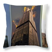 Chicago Tall Shoulders Trump Sears 333 Wacker Triptych 3 Panel 03 Throw Pillow