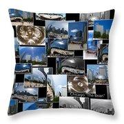 Chicago The Bean Collage Throw Pillow
