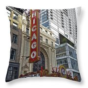 Chicago Theater Facade Northside Throw Pillow