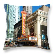 Chicago Theater Marquee Sign On State Street Throw Pillow