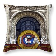 Chicago Theater Marquee Throw Pillow