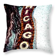 Chicago Theatre Sign Digital Art Throw Pillow by Paul Velgos