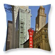 Chicago Theatre - This Theater Exudes Class Throw Pillow