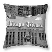 Chicago Tribune Facade Signage Bw Throw Pillow