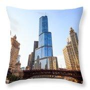 Chicago Trump Tower At Michigan Avenue Bridge Throw Pillow by Paul Velgos