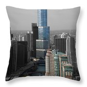 Chicago Trump Tower Blue Selective Coloring Throw Pillow