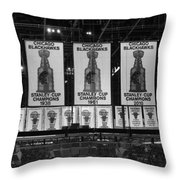 Chicago United Center Banners Bw Throw Pillow