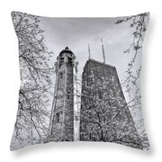 Chicago Water And Hancock Towers Black And White Throw Pillow