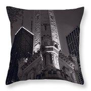 Chicago Water Tower Panorama B W Throw Pillow by Steve Gadomski