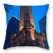 Chicago Water Tower Panorama Throw Pillow