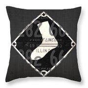 Chicago White Sox Baseball Vintage Logo License Plate Art Throw Pillow