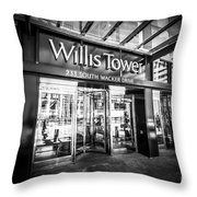 Chicago Willis-sears Tower Sign In Black And White Throw Pillow by Paul Velgos