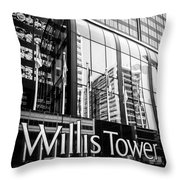 Chicago Willis Tower Sign In Black And White Throw Pillow by Paul Velgos
