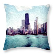 Chicago Windy City Digital Art Painting Throw Pillow