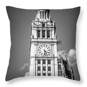 Chicago Wrigley Building Clock Black And White Picture Throw Pillow