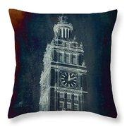 Chicago Wrigley Clock Tower Textured Throw Pillow