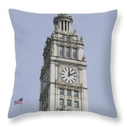Chicago Wrigley Clock Tower Throw Pillow