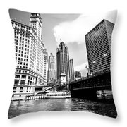 Chicago Wrigley Tribune Equitable Buildings Black And White Phot Throw Pillow