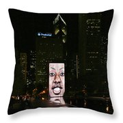 Chicago's Crown Fountain At Night Throw Pillow by Christine Till
