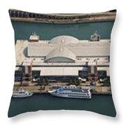 Chicago's Navy Pier Aerial Panoramic Throw Pillow by Adam Romanowicz