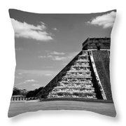 Chichen Itza Blk Wht Throw Pillow