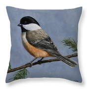 Chickadee Charm Throw Pillow by Crista Forest