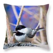 Chickadee Feast Throw Pillow
