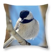 Chickadee On A Bright Day  Throw Pillow