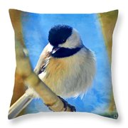 Chickadee On A Bright Day -digital Paint I Throw Pillow