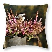 Chickadee On Heather Throw Pillow