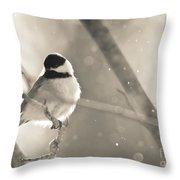 Chickadee Sparkles Throw Pillow
