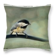 Chickadee With Frame  Throw Pillow