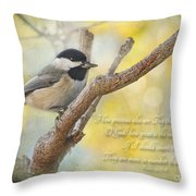 Chickadee With His Prize And Verse Throw Pillow