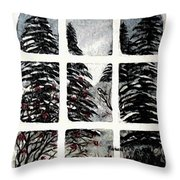 Chickadees And Dogberries Abstraction Throw Pillow