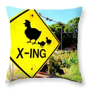 Chicken Crossing Throw Pillow