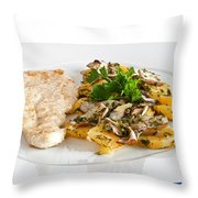 Chicken Escalope With Potatoes And Mushroom Throw Pillow