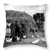 Chicken Farmers, 1939 Throw Pillow