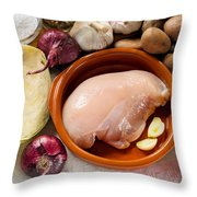Chicken Fillet With Vegetable Throw Pillow