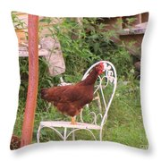 Chicken In The Chair Throw Pillow
