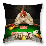 Chicken - Playing Chicken Throw Pillow by Mike Savad