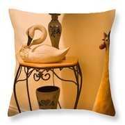 Chicken Swan Collage Throw Pillow