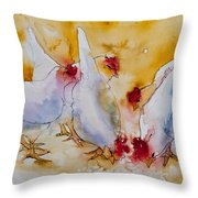 Chickens Feed Throw Pillow