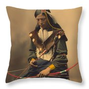 Chief Bone Necklace Of The Lakota 1899 Throw Pillow
