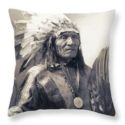 Chief He Dog Of The Sioux Nation  C. 1900 Throw Pillow