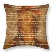 Chief Tecumseh Poem Throw Pillow
